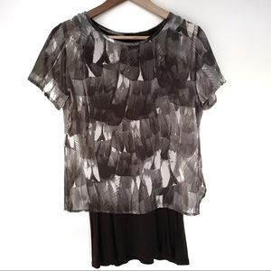 Two-tiered patterned Zara t-shirt
